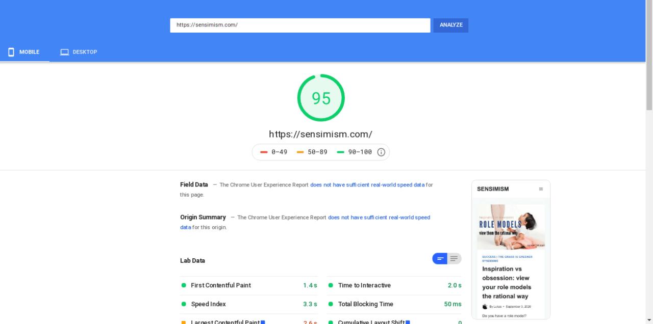 kadence theme pagespeed ranking mobile