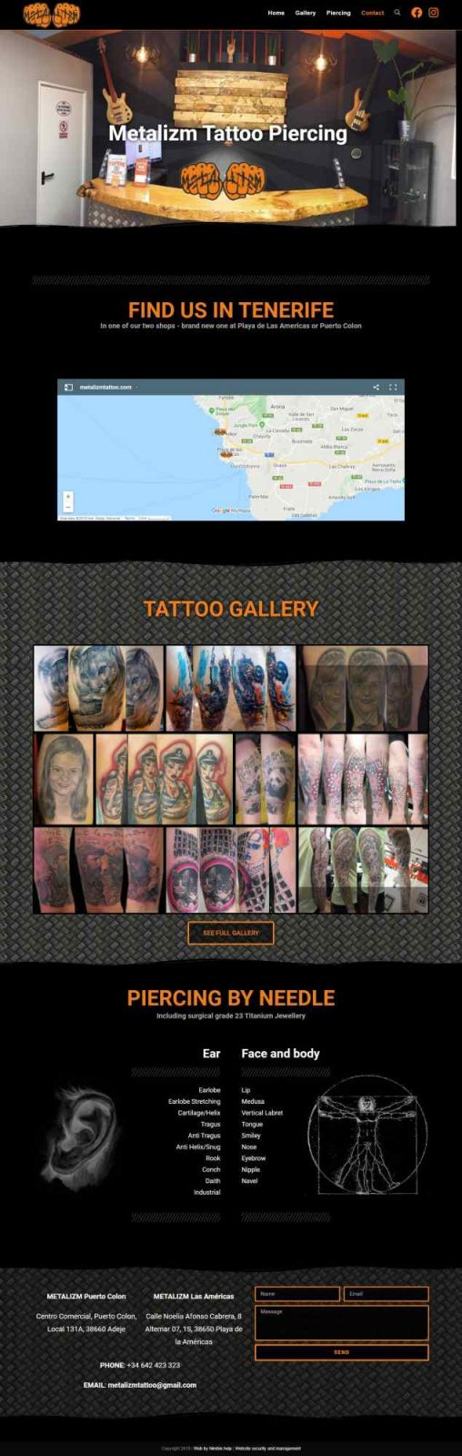 Tattoo studio website